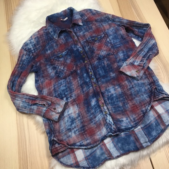 49d41b293 Free People Tops - Free People Blue & Red Overwashed Button Up Plaid